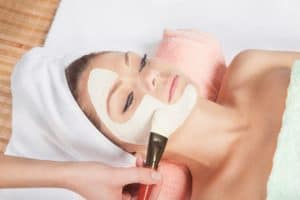 cosmetic mask at spa salon